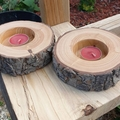 Candle holders (2no) hand turned from Australian Cypress timber.