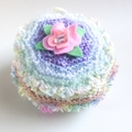 Pretty embellished knit beanie for 0-3 month baby girl. Flowers. Pastel colours.