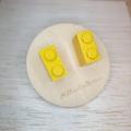 Yellow 2 Dot Lego Brick - Stud Earrings