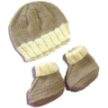 Knitted Beanie and Boots Set for 6 month old.