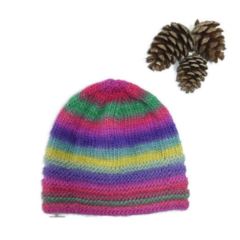Child's Knitted beanie Rainbow colours