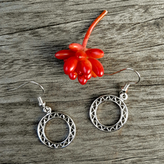 Ornate Silver Circle Earrings