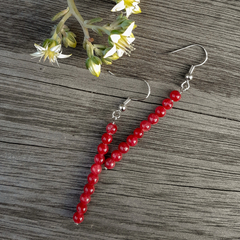 Red Stone Column Earrings