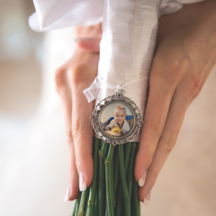 Round Photo Charm for Brides Bouquet, Wedding Keepsake Photo Locket