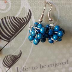 Blue wire ball Earrings