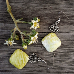 Yellow Jade Stone Earrings