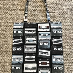 Retro cassettes shopping bag