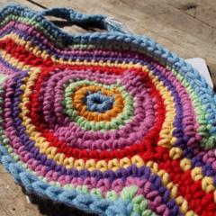 Crocheted headband, rainbow colours, abstract, cotton/acrylic yarn ON SALE