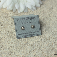 Round, Sterling Silver, stud earrings