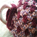 Crocheted tea cosy. Pure wool with vintage button. ON SALE!!!!!