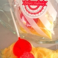 LEMONADE SHERBET AND POMEGRANTE LOLLIPOP