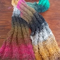 knitted scarf - twist pattern. made from multi-coloured silk blend yarn ON SALE!