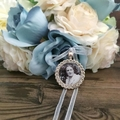 Round Wedding Crystal Memory Charm, Rhinestone Memorial Charm, Photo Locket