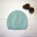 Mint Green Organic Cotton Baby Hat Size 0-3 months.