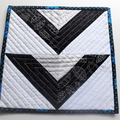 Patchwork Candle Mat or Mug Rug, Snack Mat, black, grey and white, monochromatic