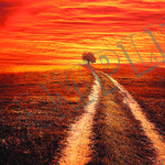 017 Red Sunset poster A3 Size
