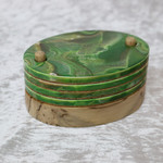 Green 4 Piece Coaster Set with Timber Stand