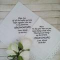 Wedding Handkerchief , Father of the Bride Hanky, Personalised Wedding Gift