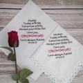 Hanky for parents of Bride or Groom, Wedding Handkerchief Personalised Gift