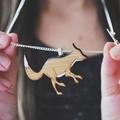 Silver fox necklace - fox - laser cut wooden fox necklace - fox jewelry - animal