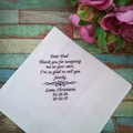 Handkerchief for Wedding, Personalised Hanky for Father of the Bride
