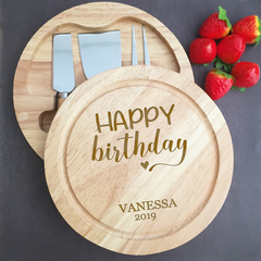 Personalised Cheese Board for Birthday Gift, Custom Happy Birthday Gift