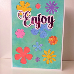 "Enjoy 5""x7"" Card Flowers Pink Foil Sentiment Aqua Background - Handmade"