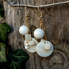 White Stone and Shell earrings