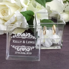 Personalised Clear Ring Box, Glass Look Ring Box, Wedding Keepsake