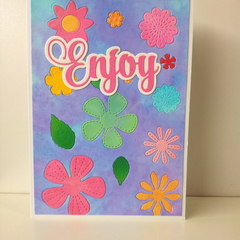 "Enjoy 5""x7"" Card Flowers Pink Sentiment Mauve Blue Background - Handmade"