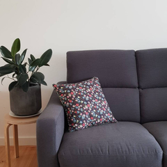 Navy Floral Cushion With 100% Recycled Insert