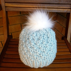Pale Blue Chunky Knit Toddler Hat with Faux Fur Pom Pom Size 2-4 years.