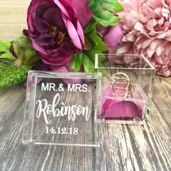 Personalised Clear Ring Box, Elegant Wedding Ring Box, Wedding Keepsake