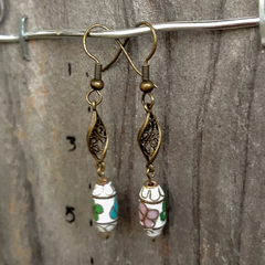 Brass Twist with Cloisonne Bead Earrings