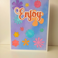 "Enjoy 5""x7"" Card Flowers Orange Sentiment Blue Mauve Background - Handmade"