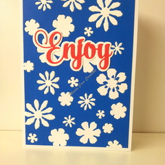 "Enjoy 5""x7"" Card Flowers Red Sentiment Blue Background - Handmade"