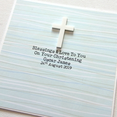 Religious Personalised card Christening Baptism Communion Confirmation stripes