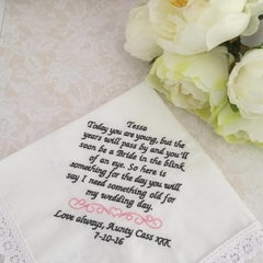 Wedding Handkerchief for Page Boy, Ringbearer Wedding Gift