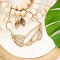 Leaf earrings - long dangle earrings - laser cut wooden jewelry - nature jewelry