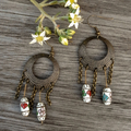 Pretty White Cloisonne Chandelier Earrings