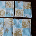 Christmas fabric coasters, drink mats, blue and gold quilted  set of eight
