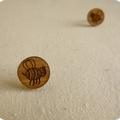 Bee studs - bee earrings - lasercut wooden bee jewellery - bees earrings
