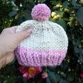 Pink and Cream Chunky Knit Baby Hat with Faux Fur Pom Pom Size 0-2 months