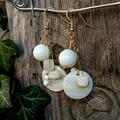 White Stone and Shell earrings