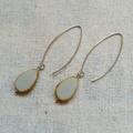 FREE POST Grey Czech glass beaded stainless steel long earrings