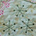 Crazy quilt block, pink, cream and green machine embroidery, quilting supply, ar