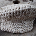 "cap crocheted from cotton ""tape"" yarn cream coloured child size"