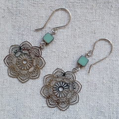 FREE POST Boho Aqua Green Czech glass bead and filigree stainless steel earrings