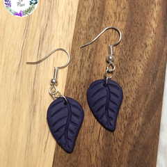 Purple polymer clay leaf earrings, silver plated ear hooks