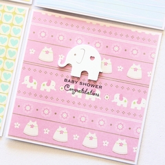 Baby Shower card elephant pink baby girl baby boy gender neutral